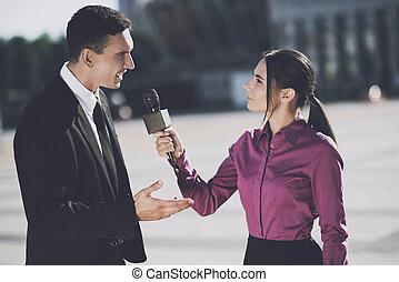 geven, interview, vrouw zaak, man