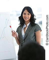 geven, jonge, presentatie, businesswoman