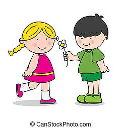 geven, jongen, meisje, bloem
