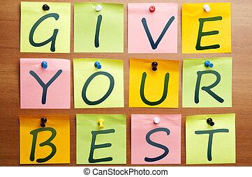 geven, jouw, best
