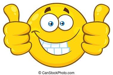 geven, karakter, op, geel gezicht, twee, het glimlachen, emoji, spotprent, duimen
