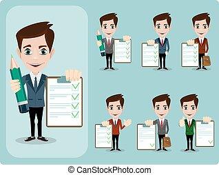 geven, overeenkomst, tegen, op, contracteren, neiging, zakenman, leeg, vriendelijk, duimen