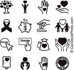 geven, &, schenking, set, iconen