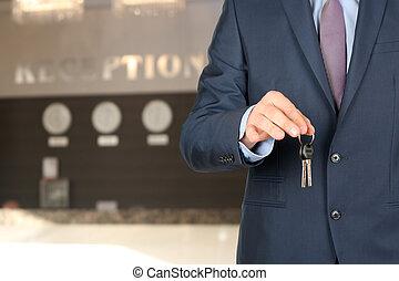geven, sleutels, ontvangst, zakenmens