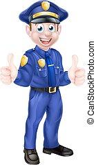 geven, spotprent, politieagent, op, duimen