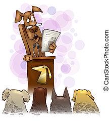 geven, toespraak, dog