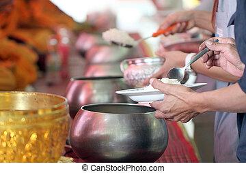 geven, voor, monniken, in, ritueel, religion.