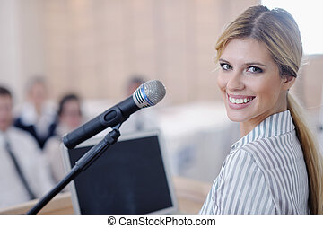 geven, vrouw, presentatie, zakelijk