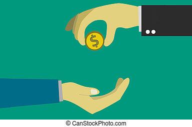 geven, zakenman, anderen, munt, hand