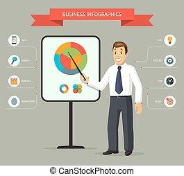 geven, zakenman, het glimlachen, presentatie, spotprent