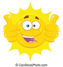 geven, zon, karakter, op, gele, twee, duimen, het glimlachen gezicht, spotprent, emoji