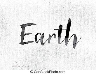 geverfde, aarde, concept, inkt