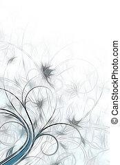 geverfde, abstract, florwers, schets