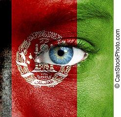 geverfde, afghanistan, vlag, menselijk gezicht