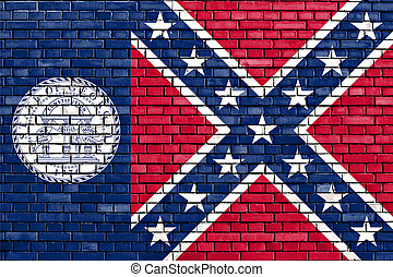 geverfde, baksteen, georgia vlag, muur, oud, staat