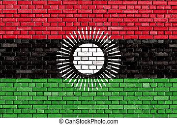 geverfde, baksteen, vlag, muur, oud, malawi