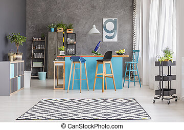 geverfde, blauwe , kamer, tafel