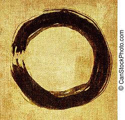 geverfde, cirkel, zen, hand