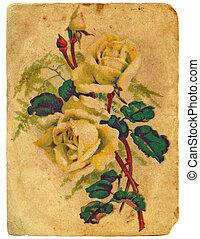 geverfde, een, bouquetten, van, roses., oud, postcard.