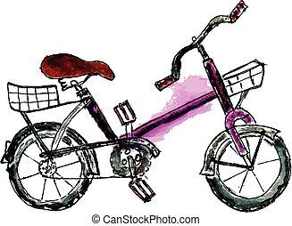geverfde, fiets