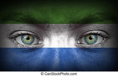 geverfde, gezicht, vlag, menselijk, sierra leone