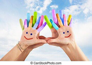 geverfde, glimlachen, handen