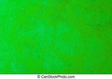 geverfde, hand, verf , verpulveren, groene achtergrond