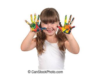 geverfde, handen, gereed, te maken, handdrukken