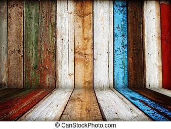 geverfde, houten, interieur, kamer, veelkleurig