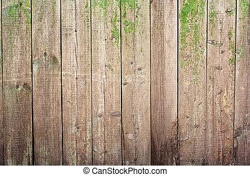geverfde, houten, oud, omheining