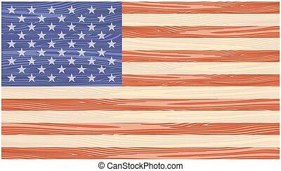 geverfde, houten, vlag, raad, ons