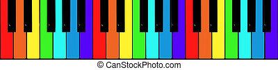 geverfde, in, de, kleuren van de regenboog, piano toetsen