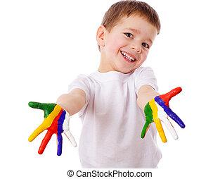 geverfde, jongen, vrolijke , handen