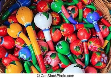 geverfde, maracas, handcraft, kleurrijke, mexico
