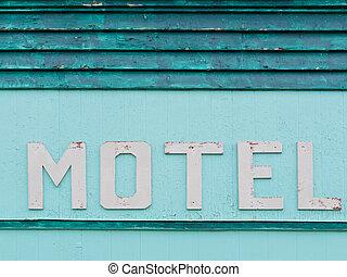 geverfde, motel, blauwe-groen, siding, historisch, facade