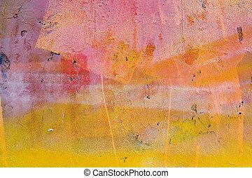 geverfde muur, gele, rood