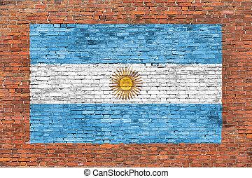 geverfde muur, vlag, argentinië, baksteen