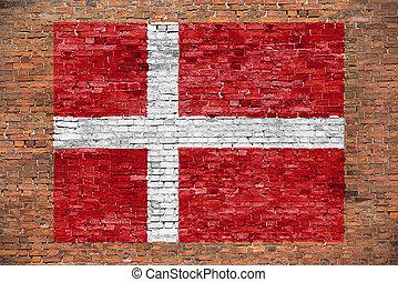 geverfde muur, vlag, baksteen, denemarken