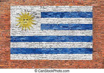geverfde muur, vlag, baksteen, uruguay