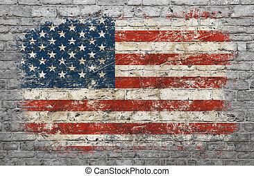 geverfde muur, vlag, baksteen, usa