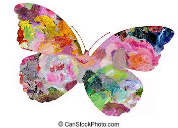 geverfde, pastel, vlinder