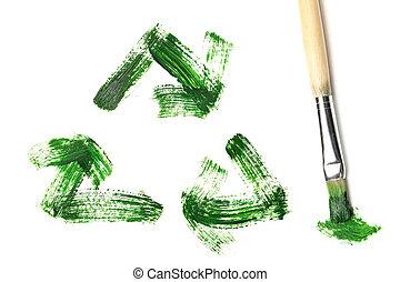 geverfde, recycleren symbool