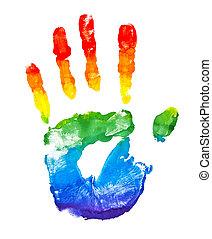 geverfde, regenboog, vorm, hand