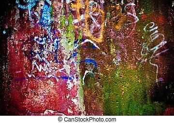 geverfde, schillen, muur, textuur