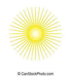 geverfde, stylized, zon