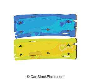 geverfde, ukranian, vlag, hout