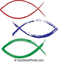 geverfde, visje, kleurrijke, jesus