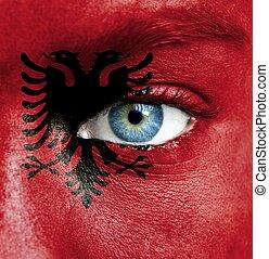 geverfde, vlag, albanië, menselijk gezicht