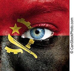 geverfde, vlag, angola, menselijk gezicht
