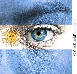 geverfde, vlag, argentinië, menselijk gezicht